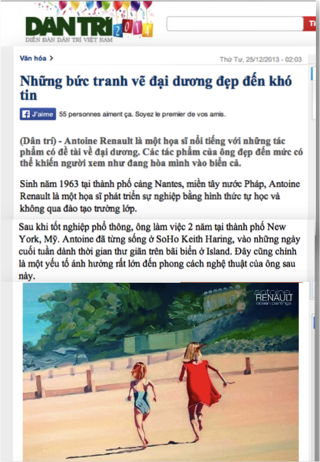DANTRI (Vietnam) about Antoine Renault Ocean Paintings