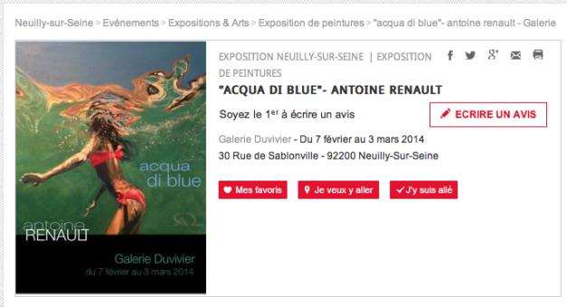 "Cityvox exposition de peintures ""Acqua di blue"" - Antoine Renault"