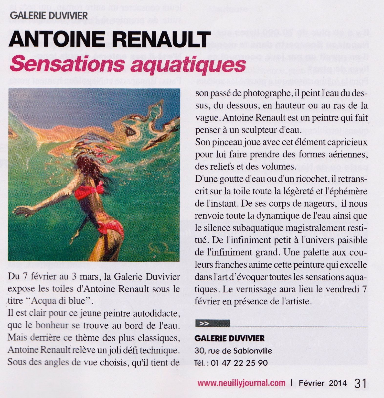 Neuilly Journal about Antoine Renault new solo exhibition