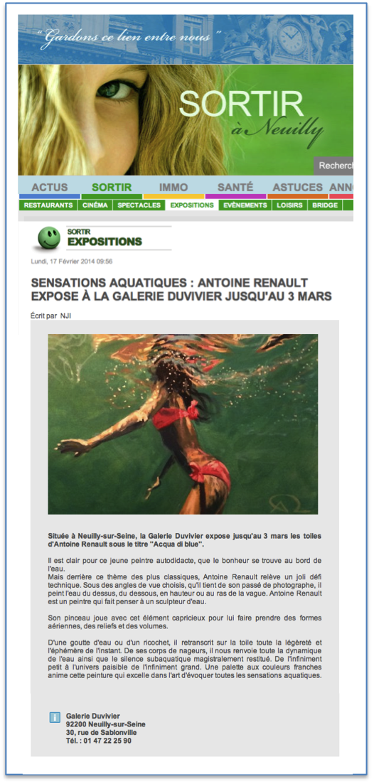 Neuilly Journal, about Antoine Renault Paintings
