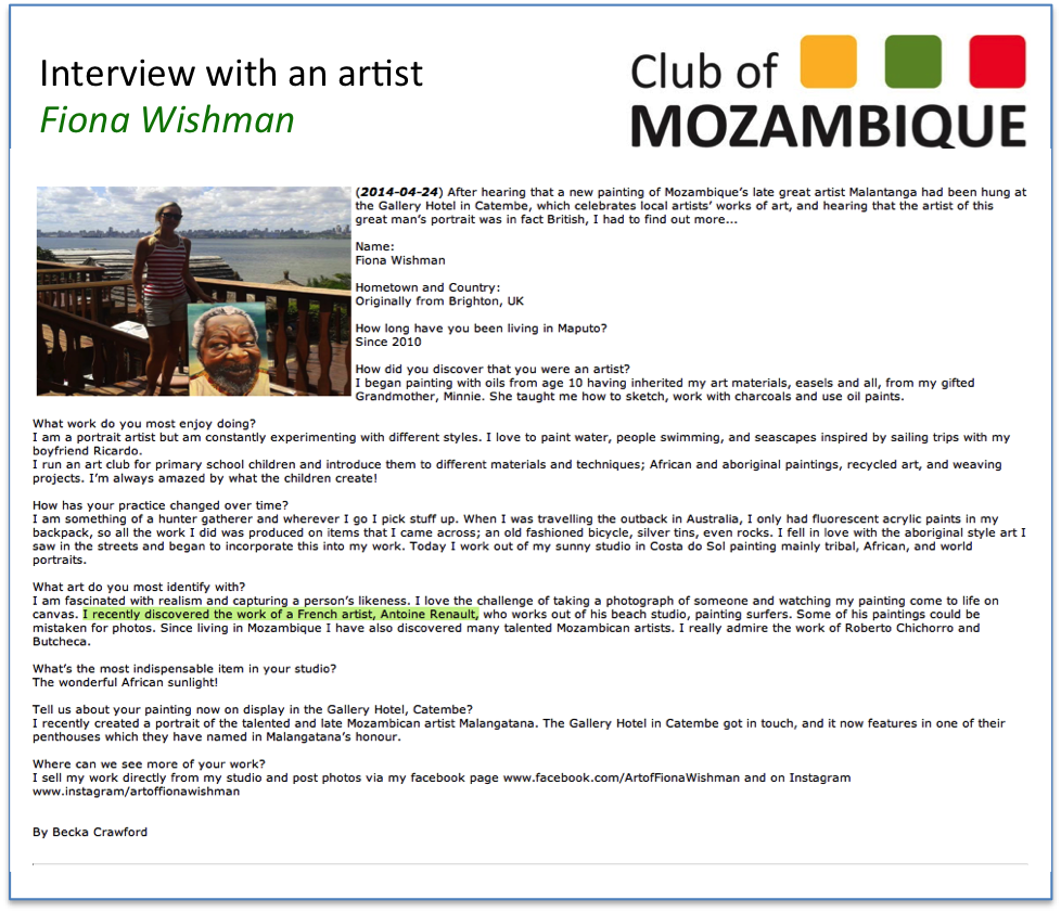 Club of Mozambique about artist Fiona Wishman