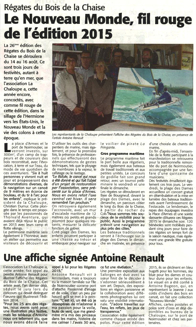 Antoine Renault in Le Courrier Vendéen